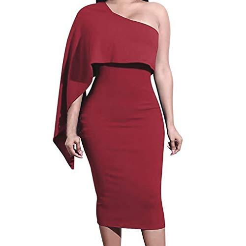 Damen Kleid Abendkleid einseitige Ärmel Rüschen Kleid Sexy Mode Mittlerer und Langer Abschnitt Schulter dünne Schulter Party Midi-Kleids Von Manadlian