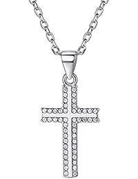 755f72c3d661 Collar con colgante de cruz de plata de ley 925 con circonita cúbica  esmaltada y cruz