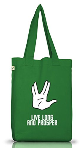 Kult Serie Jutebeutel Stoffbeutel Earth Positive mit Live Long And Prosper Motiv von ShirtStreet Moss Green