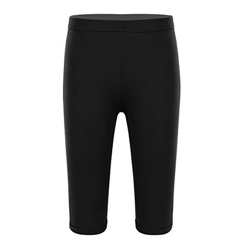 iEFiEL Mädchen Leggings Knielang Radlerhose Strumpfhosen Tight Shorts Capri Hose Tanzhose Skinny Slim Fit Yoga Turn Gym Sporthosen Schwarz 128-140
