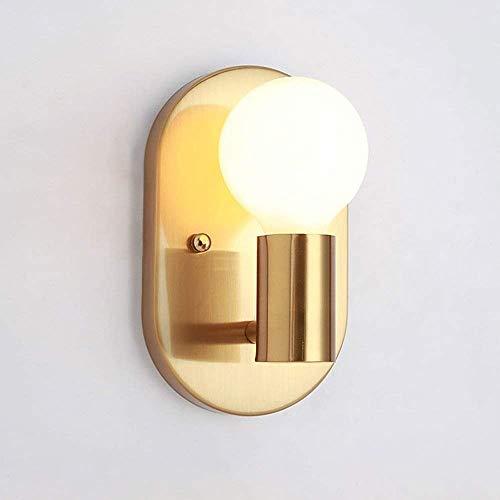 KSDGQ E27 Wandleuchte Retro Metall Wandlampe Eleganter Zimmer Deco Innen Beleuchtung für Schlafzimmer Esszimmer Wohnzimmer Küche Aisle Flur Korridor Treppen Bettseite L12* H20 cm Golden