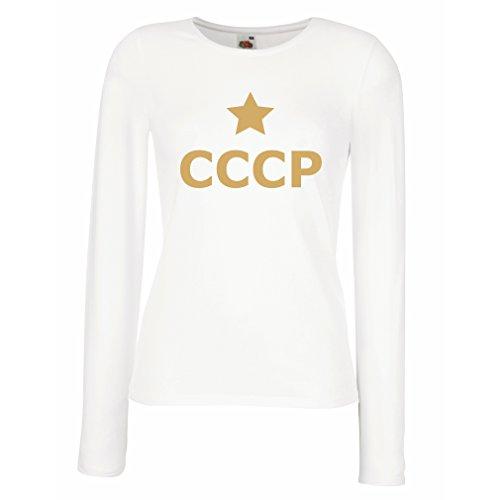 Weibliche langen Ärmeln T-Shirt UdSSR - Stern, СССР Russland, Weinlese politisches russisches Hemd (Medium Weiß Gold) (Australien T-shirt Fitted)