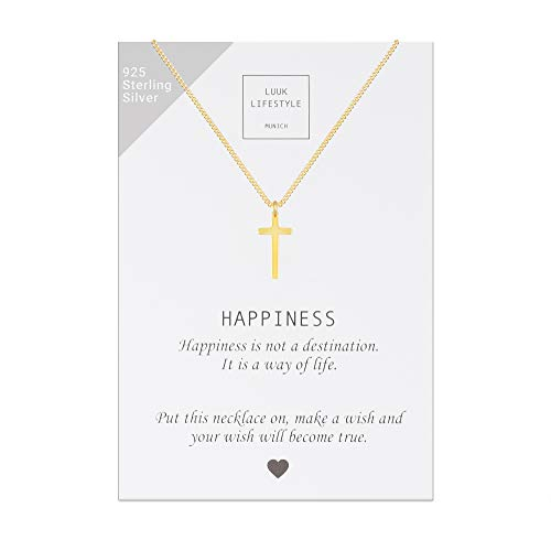 LUUK LIFESTYLE Sterling Silber 925 Halskette mit Kreuz Anhänger und Happiness Spruchkarte, Glücksbringer, Damen Schmuck, gold
