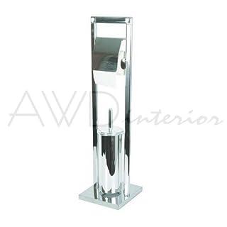 Hochwertiger Designer WC Ständer-WC Garnitur-Toilettenpapierständer mit Rollenhalter-& WC Bürste-Material:Edelstahl verchromt-Modell:Brudus IIII CUBIC -AWD Design-Größe: 18,5*18,5*71cm-AWD02070316