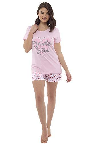 Foxbury Damen 'Bride Tribe' Junggesellinnenabschied/Hochzeit Shorts Pyjama Set Rosa (M : EU 40-42)