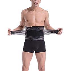 DaiHan Ceinture Lombaire avec Sangles de Compression Doubles et Support au Bas du Dos Extra-Large - Matérial Respirant léger pour Sport, Exercice Noir M
