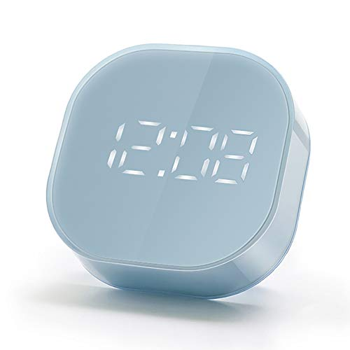 EXTSUD LED Sveglia Digitale da Comodino Orologio Silenzioso da Tavolo con Funzione Snooze Doppio Allarme Timer Formato 12/24 Ore Temperatura Sveglia Elettronica per Casa Ufficio Regalo Amici (Blu)