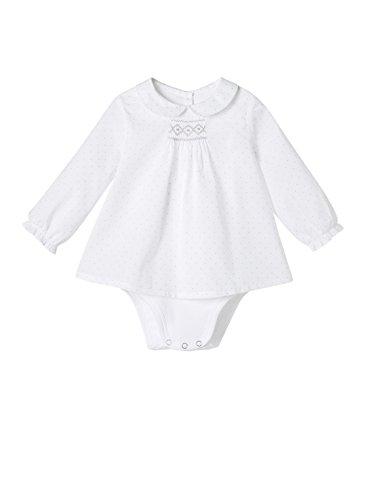 Cyrillus - Body-guimpe 2 en 1 bébé blanc/pois gris-Blanc/pois gris-12M
