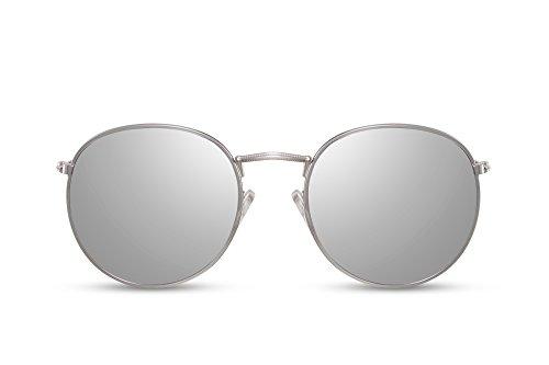 Cheapass Verspiegelt-e Sonnenbrille Rund-e Brille Silber-n UV-400 Metall-Rahmen Retro Damen Herren