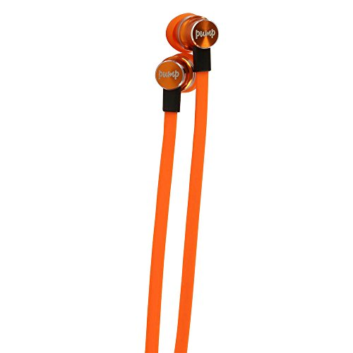Pump Audio Mix, In Ear Earphones with High Quality Sound, Extra Long Tangle Free Flat Cable, Inear Headphones With Mic for Sport, Running, Cycling, Gym With Case - Orange
