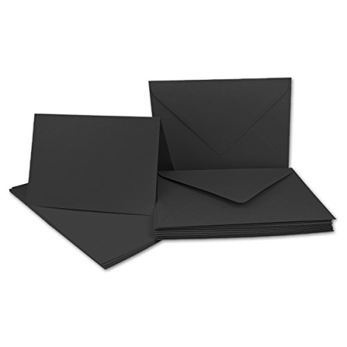 10x Faltkarten Set mit Brief-Umschlägen Schwarz - DIN A6 / C6-14,8 x 10,5 cm | Premium Qualität | FarbenFroh® von Gustav NEUSER®