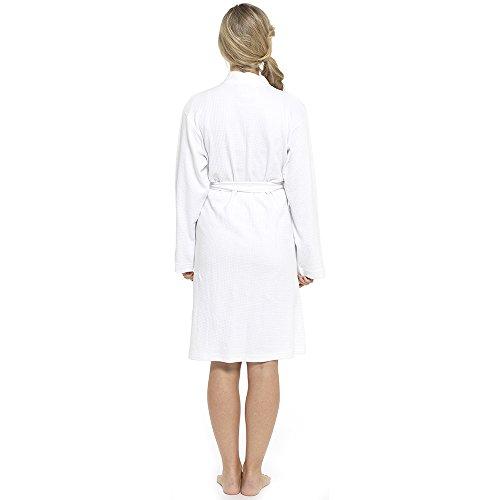 Damen 100% Baumwolle Waffel Bad Robe Bademantel Sommer Bademantel Gewickelt Hausmantel Weiß