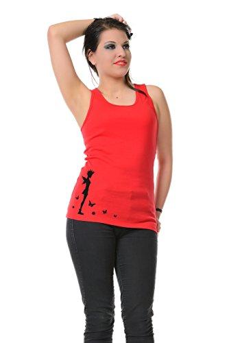 Girocollo Allentato Casuale Canotte Senza Maniche Serbatoio Migliori Camicie stampa punk di fata - Donna, da 3Elfen rosso nero