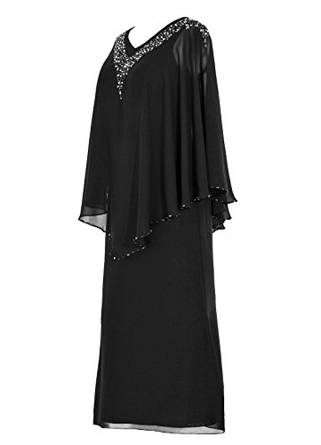 Dresstells Robe de demoiselle d'honneur Robe de soirée Robe de mère de mariée longueur ras du sol Noir