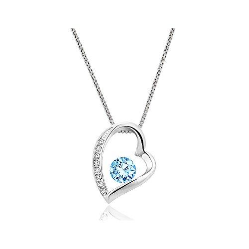 """Yparah - Collana da donna """"Love"""", con cristalli Swarovski, colore: Blu"""