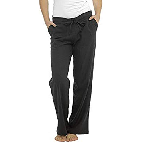 Epig Frauen Leinen Reine Farbe Hohe Taille Breite Beinhosen Tasche Hosen Lose Hosen Plaid Cropped Pants