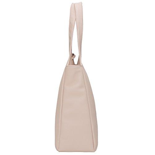 Kadell Frauen Einkaufstasche Einfache Entwerfer-Handtasche für Damen weiche PU lederne Schulter Beutel Weiß Hautfarbe