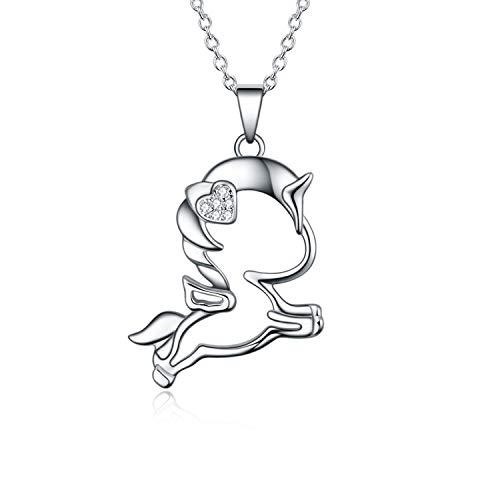 YAFEINI Einhorn Kette für Mädchen Sterling Silber Laufen Süß Einhorn Anhänger Halsketten für Tochter Enkelin Kinder Mädchen Frauen (Einhorn Kette A) (Laufen Mädchen-halskette)