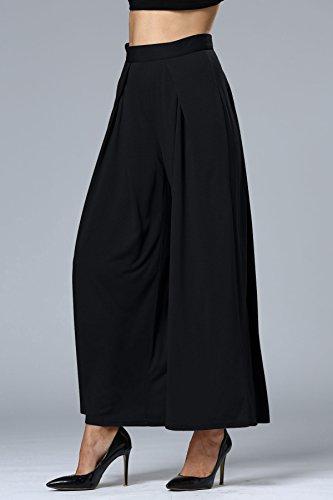 Minetom Damen Elegante Lose Lange Stretch Weites Bein Hose Leicht Weich Gefühl Sommer Hosenrock Schwarz