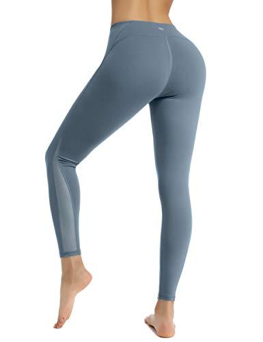 HAPYWER Sport Leggings mit Mesh Damen Sporthose Yogahose Laufhose Tights Fitnesshose Yoga Leggings für Damen (Stahlgrau, XL) -