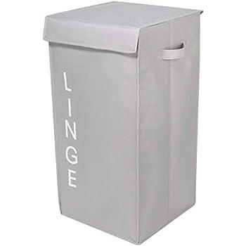 HOKIPO® Folding Laundry Basket with Lid, 54-LTR, Grey