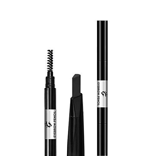 Schwarz Augenbrauenstift mit Pinsel, wasserfeste einziehbare Augenbrauenstiftfarbe für Frauenmädchen (Schwarz #2)