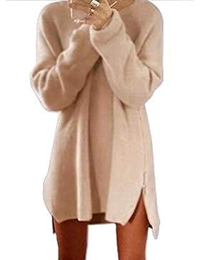 Qixuan Mujeres Cremallera Lateral Mangas largas Informal túnica Suelta Jersey Jersey suéter Vestido de Puente