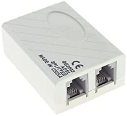 FENTICO™ ADSL Splitter for Landline Telephone and Modem - 6P2C RJ 11 Female Jack to 2 x 6P2C Double Female Jack Adaptor- (Pack of 2 Pcs)