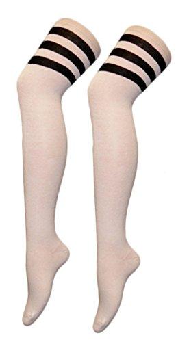 Unisex Herren Damen Mädchen Jungs über Knie Schiedsrichter Socken Sport oder Fancy Dress Rugby Fußball (Onesize (Schuhgröße 32-34), Weiß mit schwarzen Streifen) (Fußball Schiedsrichter Kostüm Kinder)
