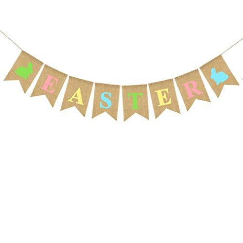 Muster Jute Banner Flagge Vintage Jute Wimpelkette Girlande für Happy Easter Party Dekoration zum Aufhängen ()