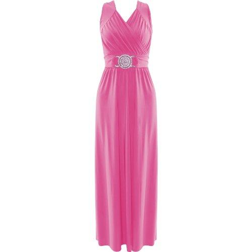 Da donna Maxi vestito da sera Buckle Wrap over cocktail party lungo gonna top Pink