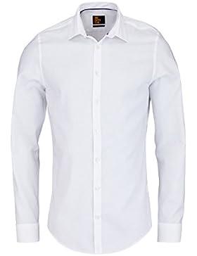 UNO Super Slim Hemd Langarm mit New Kent Kragen Struktur weiß