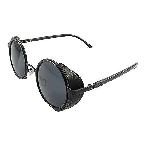 Ultra Black mit schwarzen Linsen Steampunk Sonnenbrille 50er Jahre Brillen Runde mit UV400 Schutz Cyber Goggles Goth Vintage uhGevY