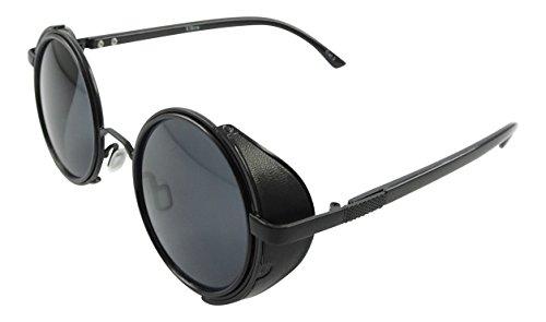 Occhiali rotondi ultra nero con lenti nere Steampunk occhiali da sole anni ' 50 con UV400 protezione Cyber occhiali entusiastiche Goth Vintage