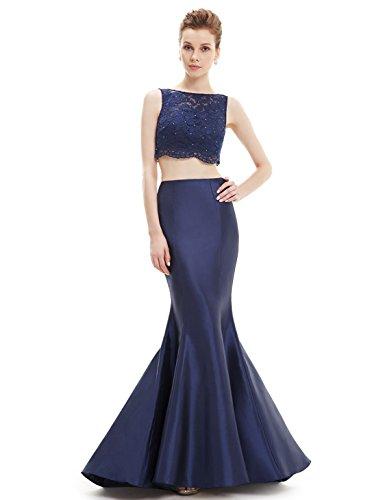 Ever Pretty Robe de cocktail longue deux-pi¨¨ces Fishtail 08434 Bleu Marine