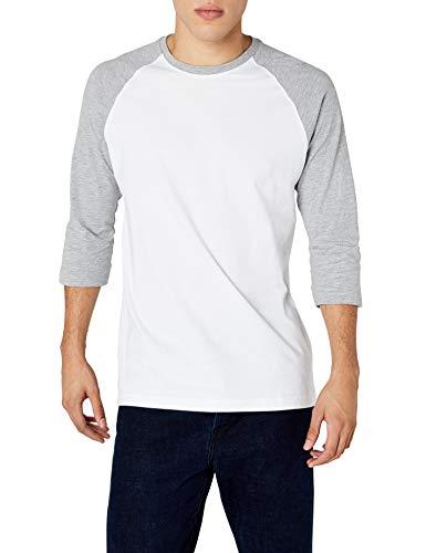 Urban Classics TB366 Herren 3/4 Sleeve Bekleidung T-Shirt, mehrfarbig (Wht/Gry), M - 3/4 Sleeve Shirt
