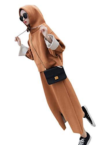 CuteRose Women Solid Classic Fit Tracksuit Top Trumpet Skirt 2pcs Khaki S Velours-activewear-set