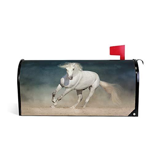 ZZKKO Desert White Horse Couverture magnétique pour boîte aux Lettres Grand Format 69,5 x 52,8 cm 25.5\