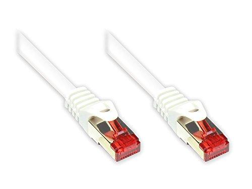Good Connections Cat. 6 Ethernet LAN Patchkabel mit Rastnasenschutz RNS, S/FTP, PiMF, PVC, 250Mhz, Gigabit-fähig (10/100/1000-Base-T Ethernet Netzwerke), für Patchfelder, Patchpanels, Switch, Router, Modems, weiß, 25m -