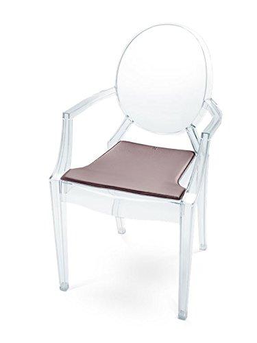 HILLMANN LIVING Sitzkissen Louis Ghost - Sitzauflage aus Leder für Designklassiker Louis Ghost, weich gepolstert und rutschfeste Beschichtung, 42 cm x 43,5 cm x 1 cm (aubergine / DARK AUBERGINE) Ghost Leder