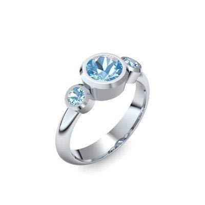Silber Ring Aquamarin 925 + inkl. Luxusetui + Aquamarin Ring Silber Aquamarinring Silber (Silber 925) - Tripple Emotion Amoonic Schmuck Größe 54 (17.2) MW01 SS925AQFAAQFA54