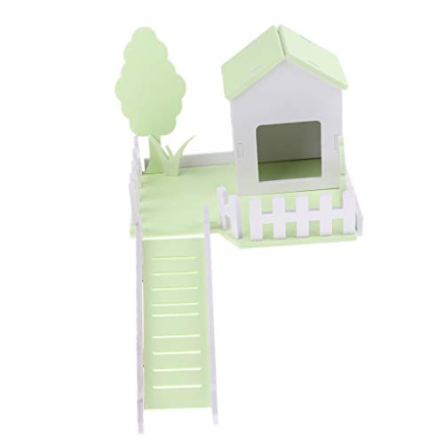 D DOLITY Hamster Haus Villa Spielzeug mit Treppen für Hamster, Igel, Meerschweinchen, Eichhörnchen, Chinchilla - Grün
