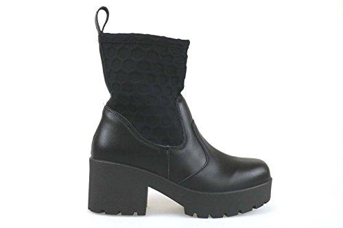 scarpe donna MADAME PIGALLE stivaletti nero pelle tessuto AM783 (36 EU)