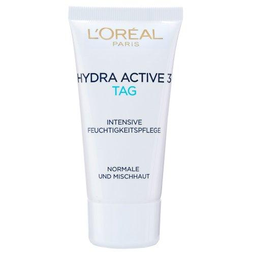 L\'Oreal Paris Hydra Active 3 Tagespflege, mit Vitamin E für normale und Mischhaut, Tube: spendet intensiv Feuchtigkeit, 50 ml