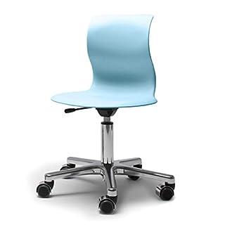 Flötotto - Pro 5 Drehstuhl Alu poliert, Sitzschale aquablau, weiche Rollen (mit polierter Abdeckung)