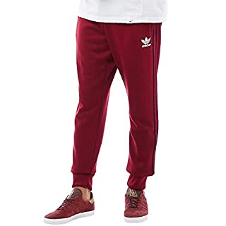 adidas Originals Track Pant Mens Superstar SST Tracksuit Bottoms Trefoil Slim Fit Pant New BQ7784, Burgundy, M