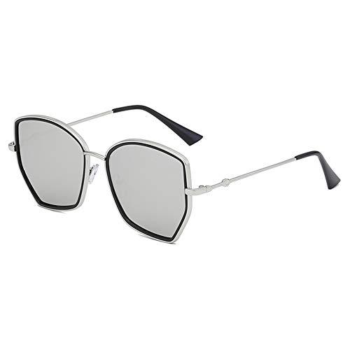 Z&HA Frauen Sonnenbrillen Oversized Hexagonal Metal Frame and Gradient Linsen UV400 Schutzbrillen für das Reisen,Sivler
