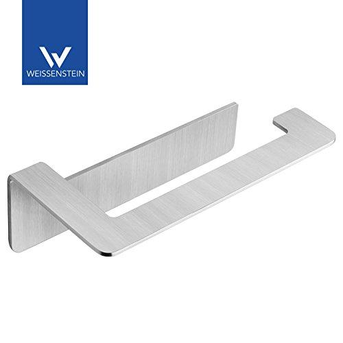 WEISSENSTEIN Toilettenpapierhalter Edelstahl Ohne Bohren - WC-Rollenhalter Selbstklebend - 16 x 5,5 x 8 cm