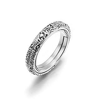 ASOSMOS Astronomische Kugel Kugelring kosmischen Fingerring Paar Liebhaber Schmuck Geschenke (Silver, 17.3mm 54.5mm)