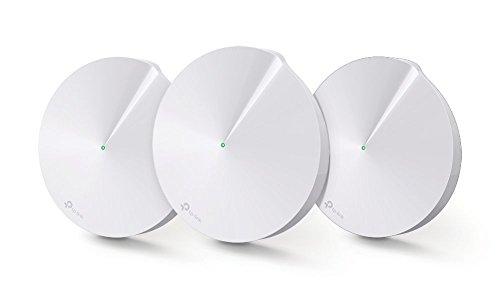 TP-LINK Deco M5(3-Pack)- Banda Dual, 802.11ac/a/b/g/n, CPU Quad-Core 717MHz, Bluetooth 4.2, 2 puertos Ethernet Gigabit, 1 puerto USC Tipo-C, 4 antenas internas, 256QAM, MU-MIMO,Wi-Fi: 400 Mbps en 2.4 GHz + 867 Mbps en 5 GHz